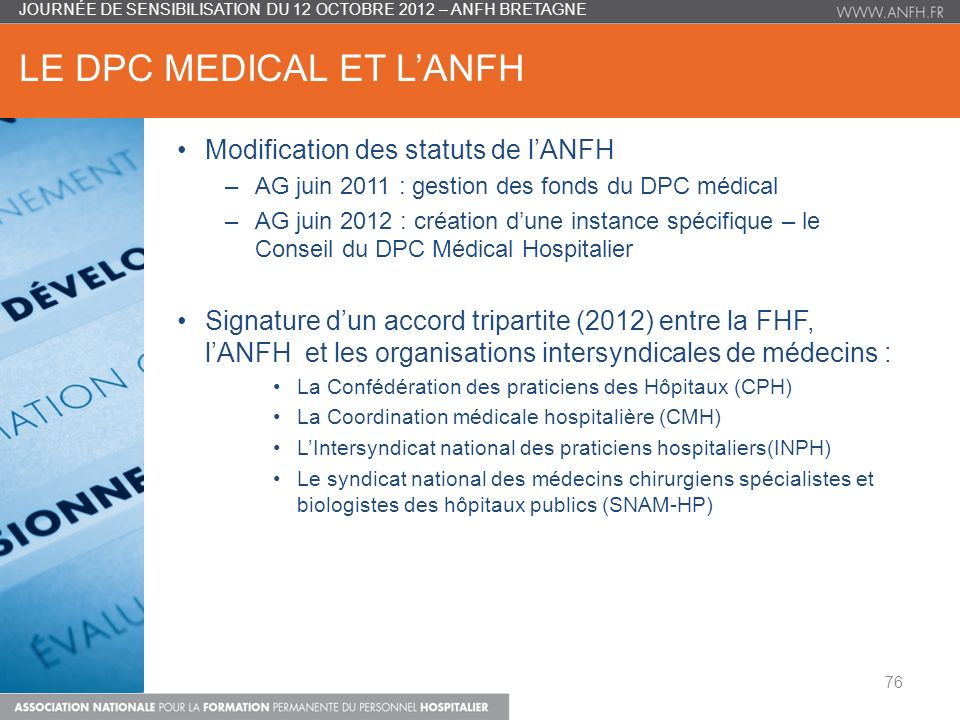 LE DPC MEDICAL ET L'ANFH