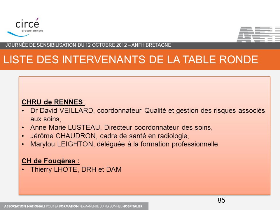 Liste des intervenants de la table ronde