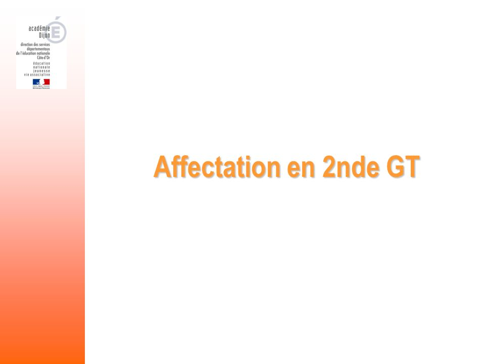Affectation en 2nde GT