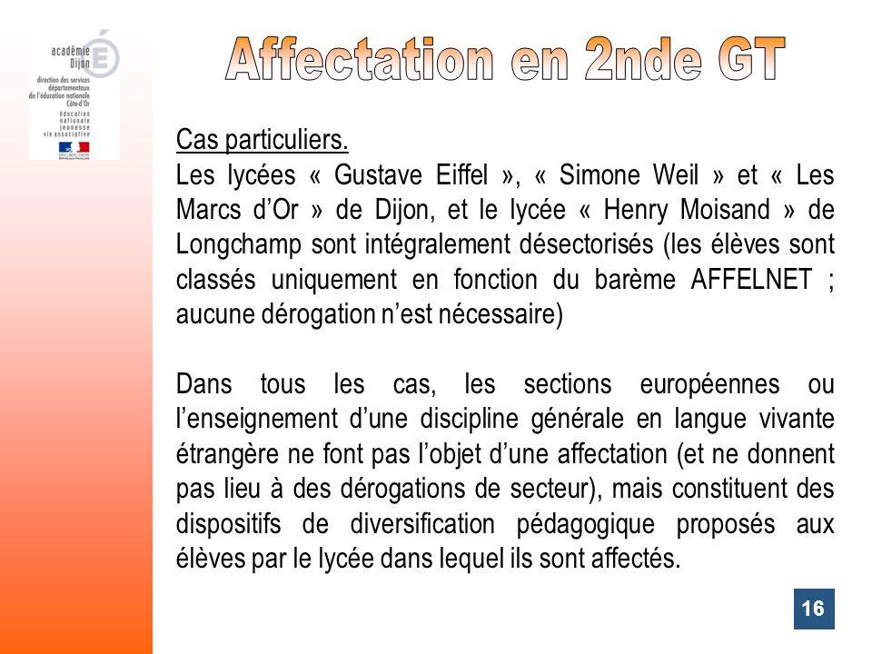 Affectation en 2nde GT Cas particuliers.