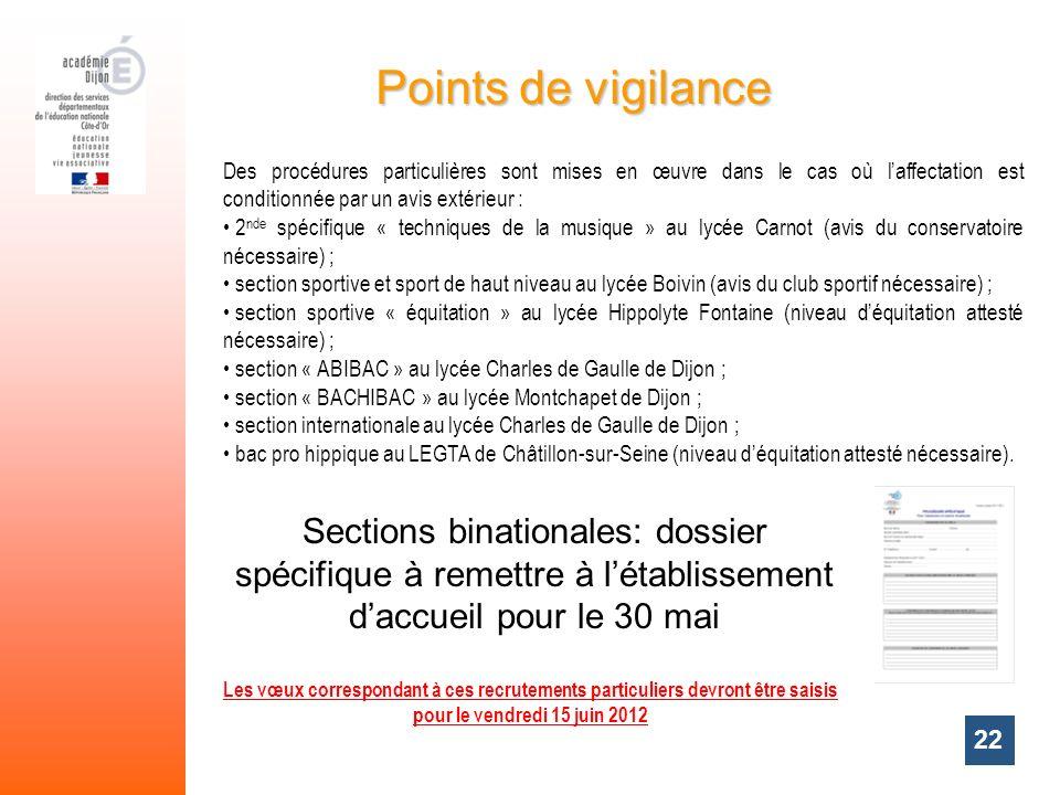 Points de vigilance Des procédures particulières sont mises en œuvre dans le cas où l'affectation est conditionnée par un avis extérieur :