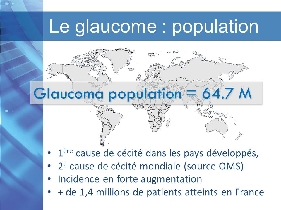 Le glaucome : population