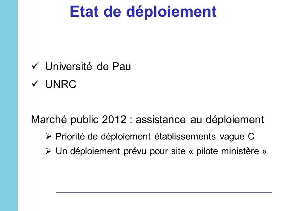 Etat de déploiement Université de Pau UNRC