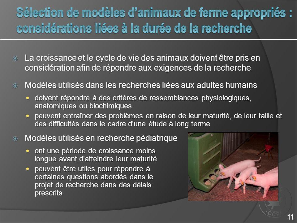 Sélection de modèles d'animaux de ferme appropriés : considérations liées à la durée de la recherche