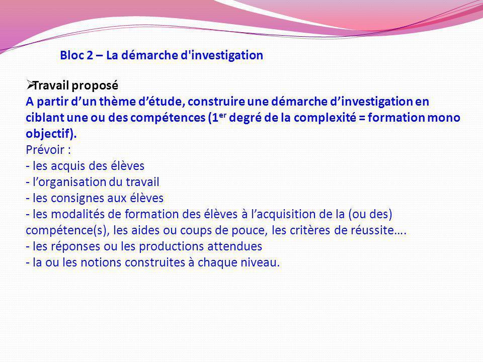 Bloc 2 – La démarche d investigation