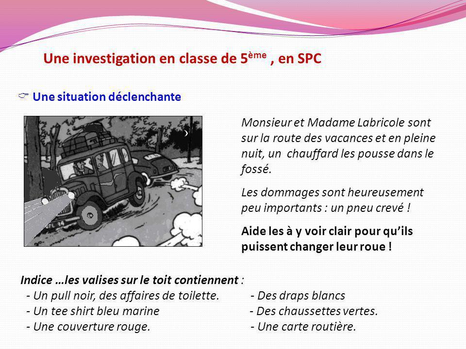 Une investigation en classe de 5ème , en SPC