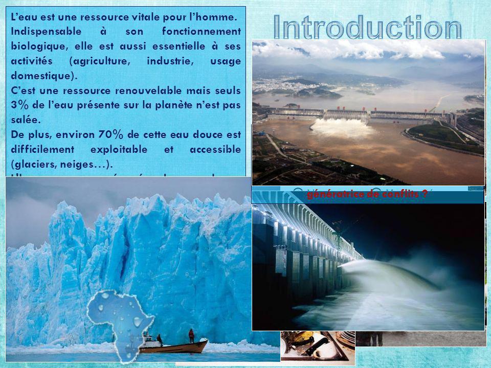 Introduction L'eau est une ressource vitale pour l'homme.