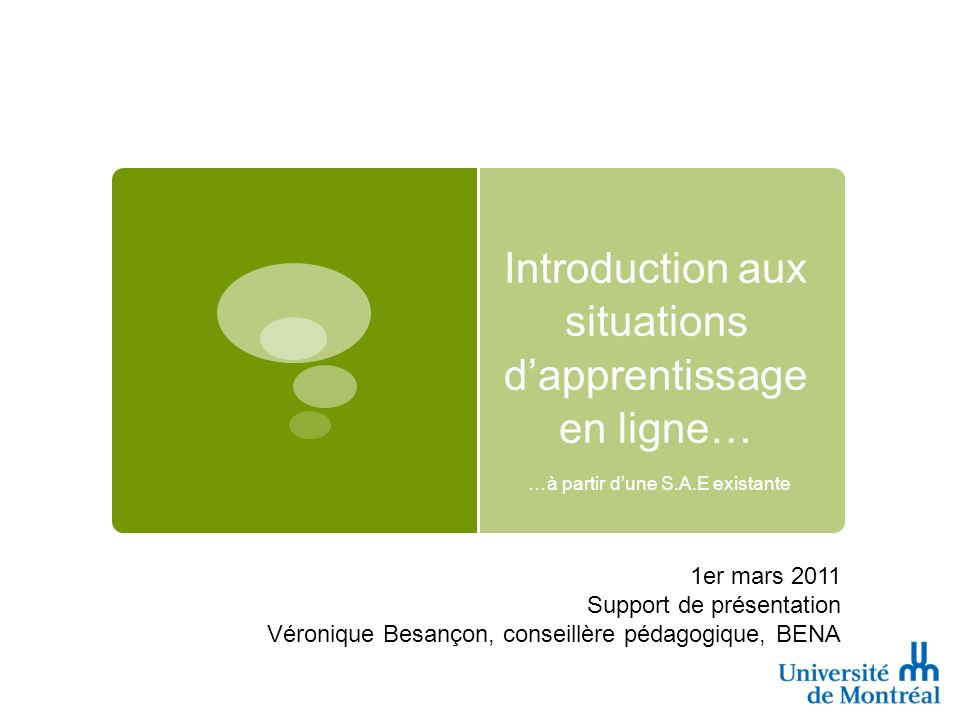 Introduction aux situations d'apprentissage en ligne…