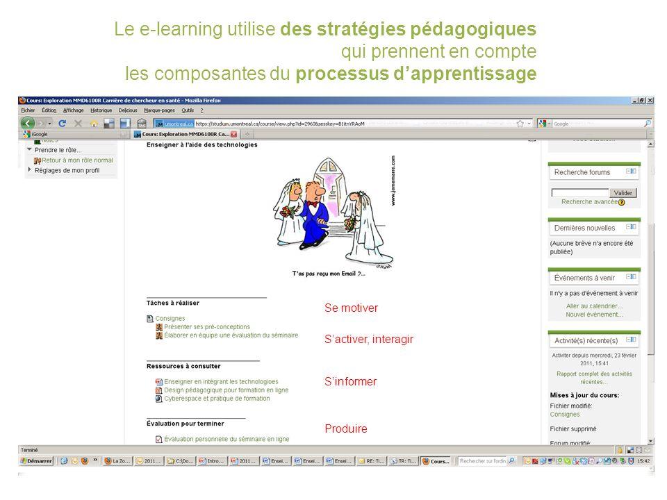 Le e-learning utilise des stratégies pédagogiques qui prennent en compte les composantes du processus d'apprentissage