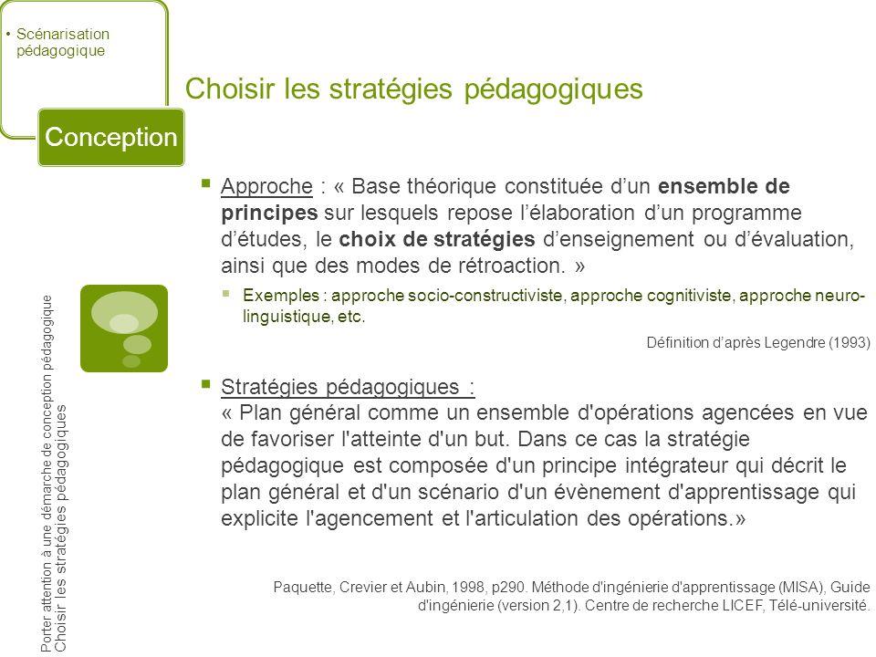 Choisir les stratégies pédagogiques