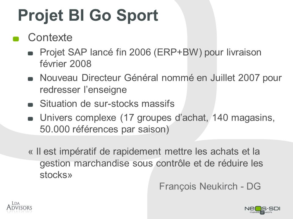 Projet BI Go Sport Contexte