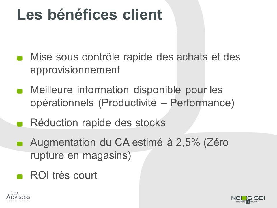 Les bénéfices client Mise sous contrôle rapide des achats et des approvisionnement.