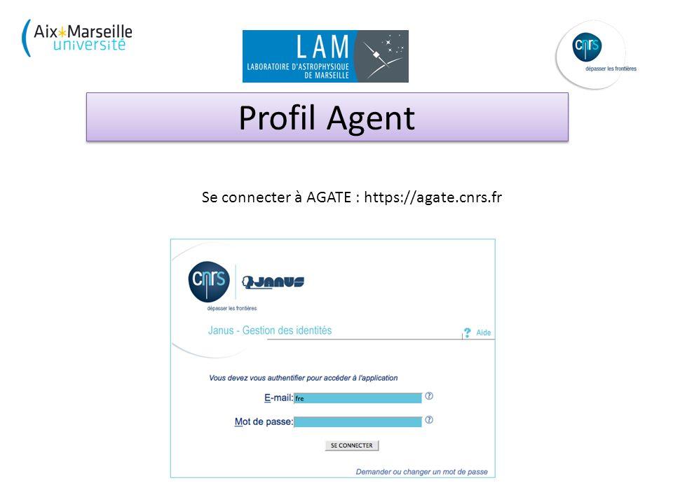 Profil Agent Se connecter à AGATE : https://agate.cnrs.fr