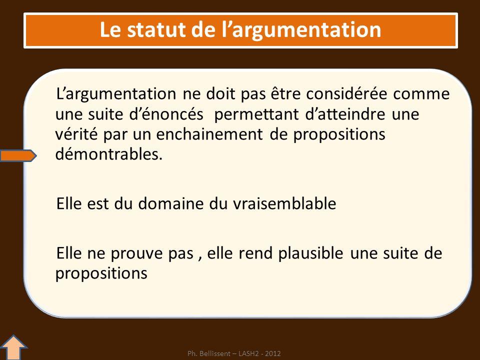 Le statut de l'argumentation