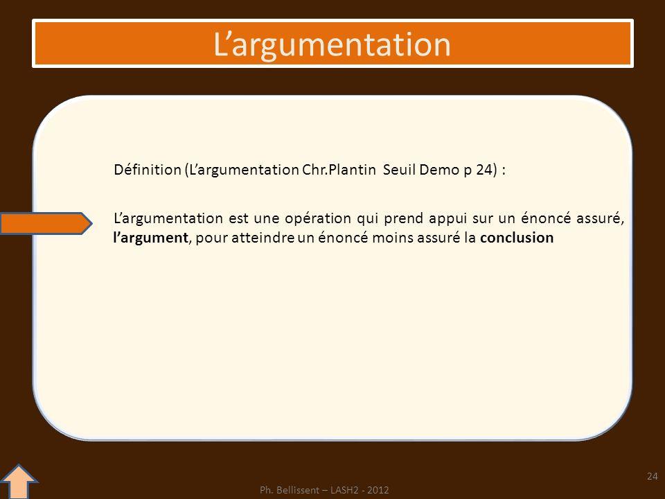 L'argumentation Définition (L'argumentation Chr.Plantin Seuil Demo p 24) :