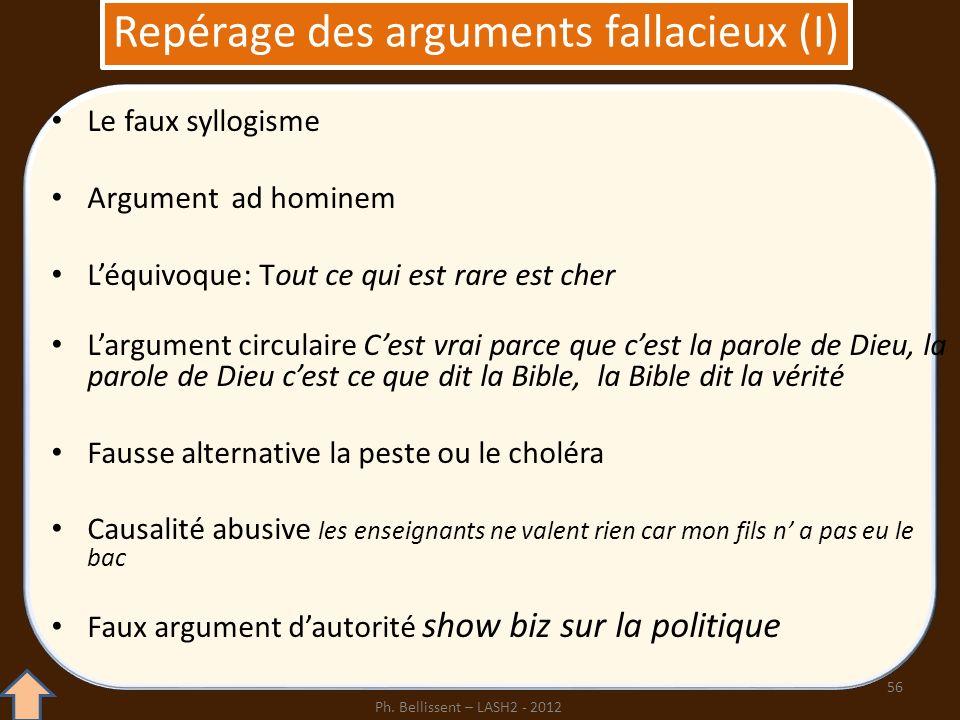 Repérage des arguments fallacieux (I)