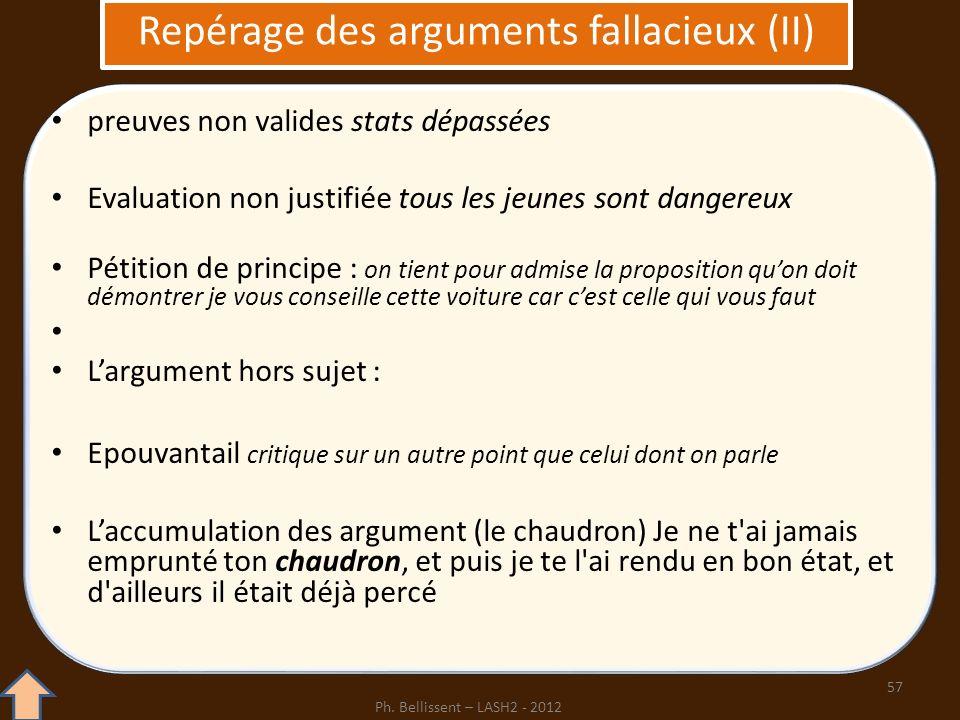 Repérage des arguments fallacieux (II)