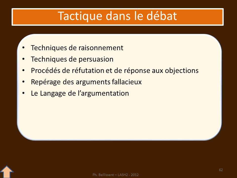 Tactique dans le débat Techniques de raisonnement