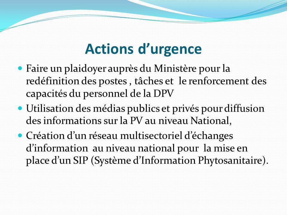 Actions d'urgence