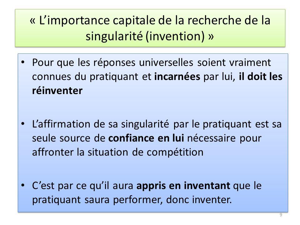 « L'importance capitale de la recherche de la singularité (invention) »