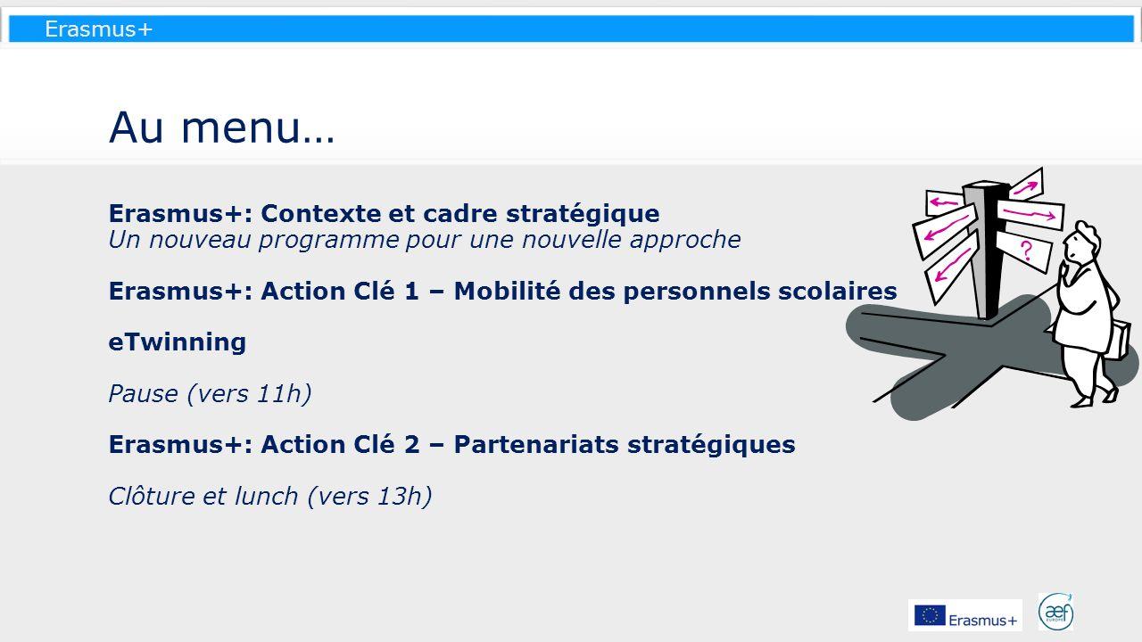 Au menu… Erasmus+: Contexte et cadre stratégique