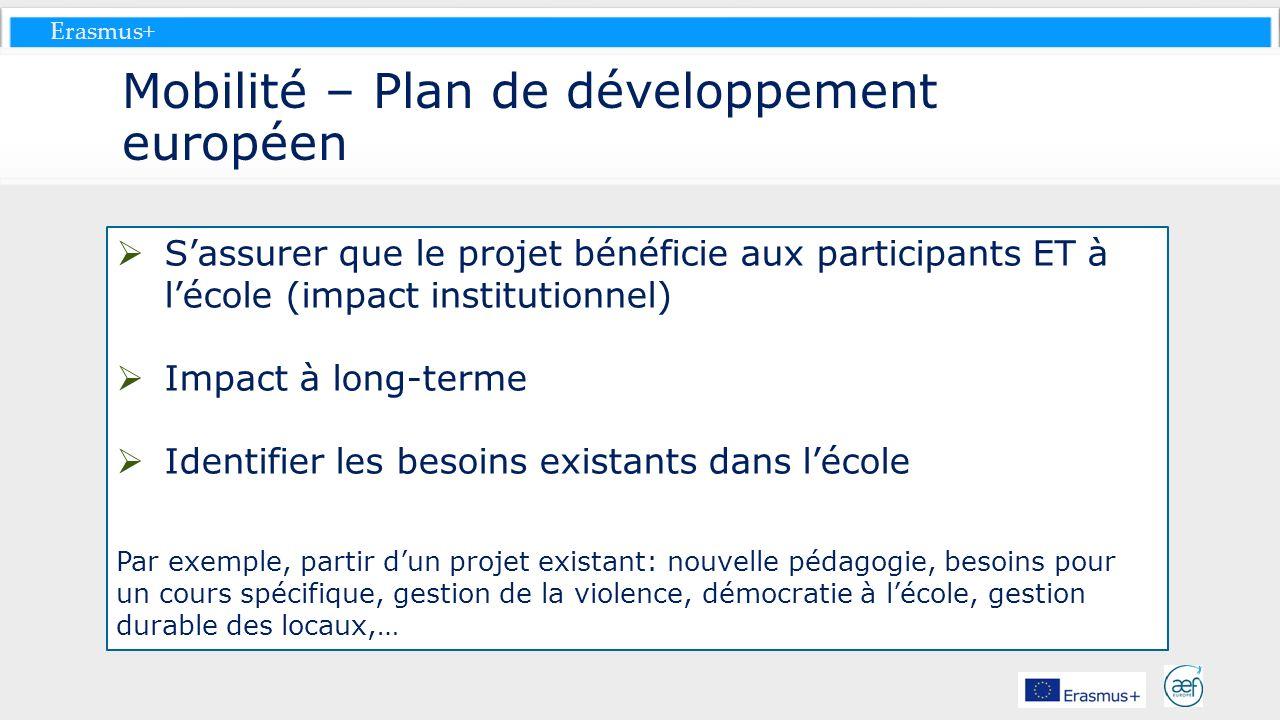 Mobilité – Plan de développement européen