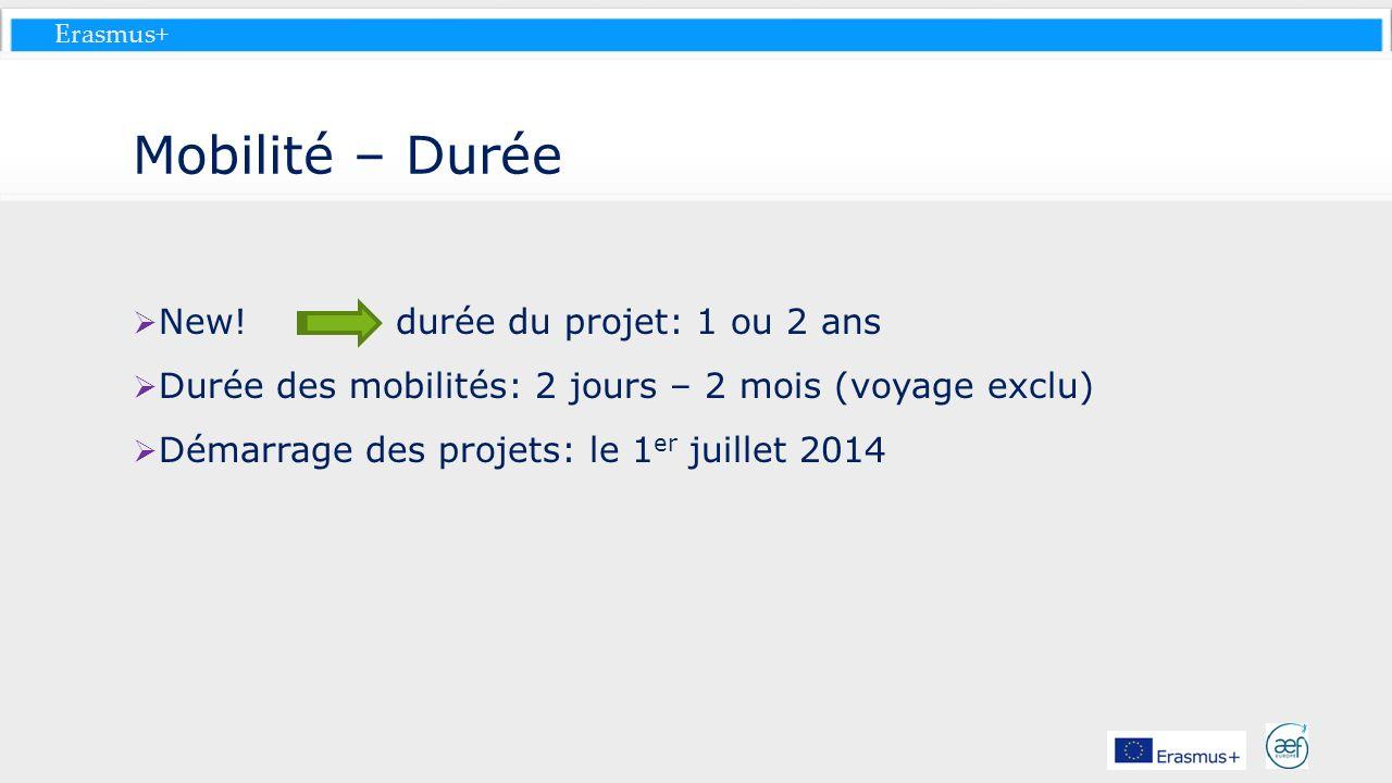 Mobilité – Durée New! durée du projet: 1 ou 2 ans