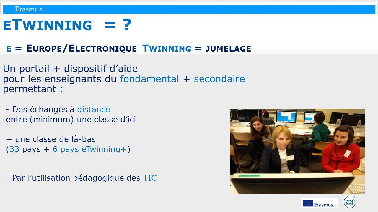 eTwinning = e = Europe/Electronique Twinning = jumelage Un portail + dispositif d'aide pour les enseignants du fondamental + secondaire permettant :