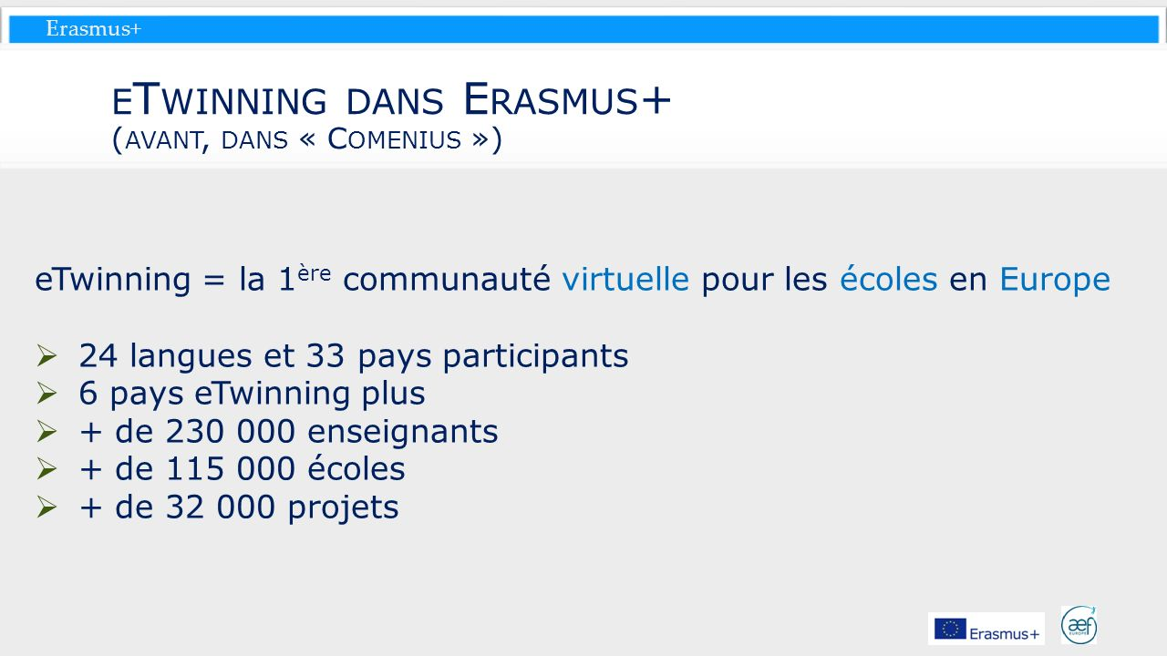eTwinning dans Erasmus+ (avant, dans « Comenius »)