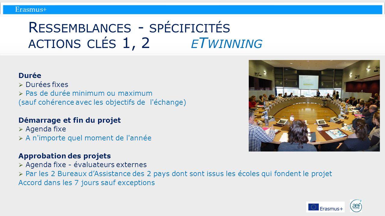 Ressemblances - spécificités actions clés 1, 2 eTwinning