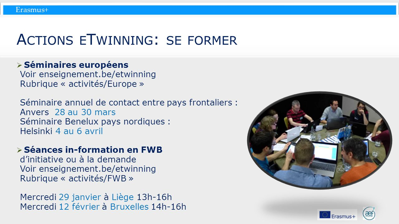Actions eTwinning: se former