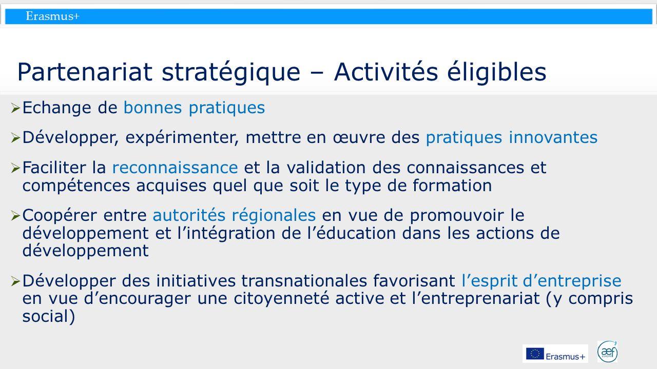 Partenariat stratégique – Activités éligibles