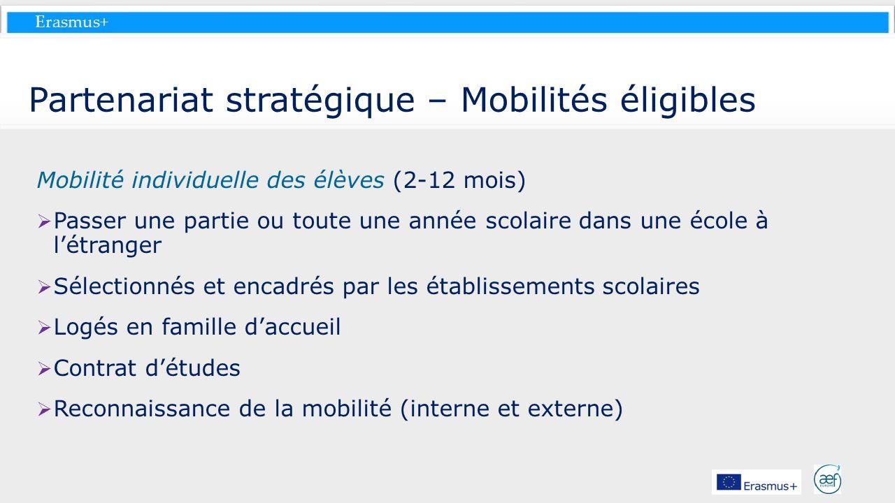 Partenariat stratégique – Mobilités éligibles