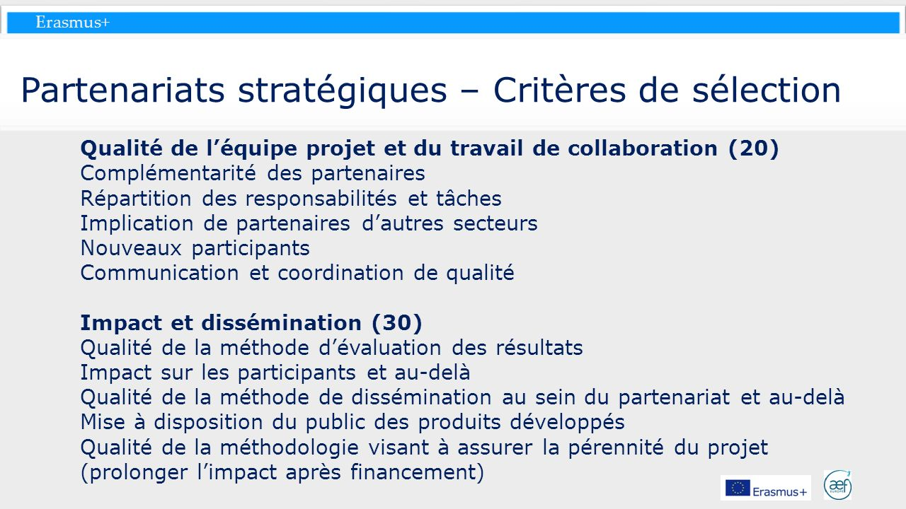 Partenariats stratégiques – Critères de sélection