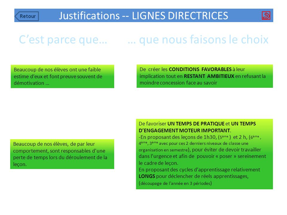 Justifications -- LIGNES DIRECTRICES