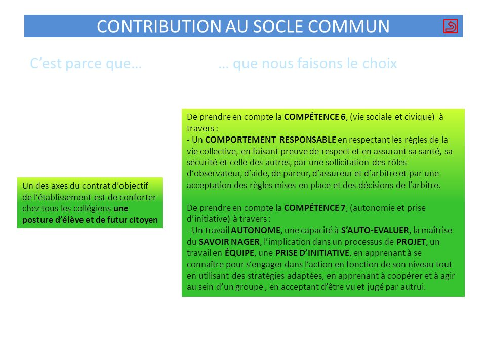 CONTRIBUTION AU SOCLE COMMUN