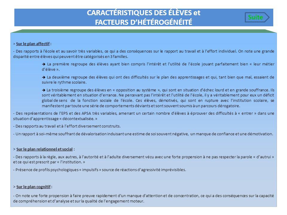 CARACTÉRISTIQUES DES ÉLÈVES et FACTEURS D'HÉTÉROGÉNÉITÉ