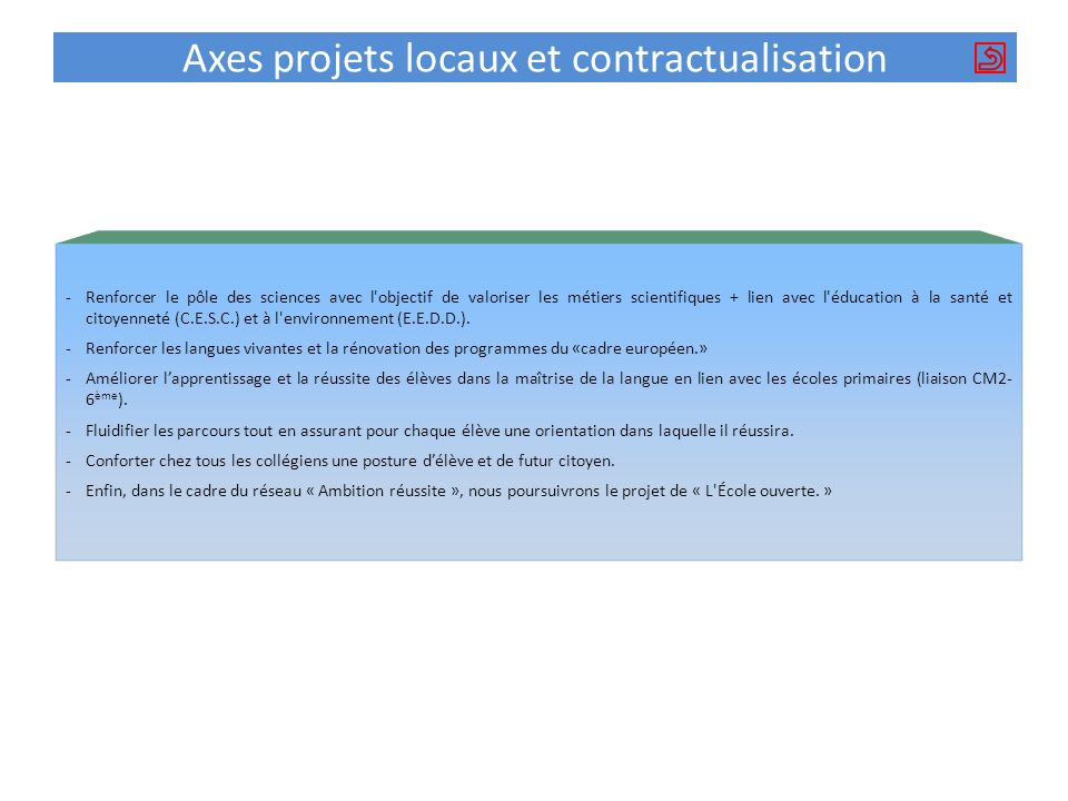 Axes projets locaux et contractualisation
