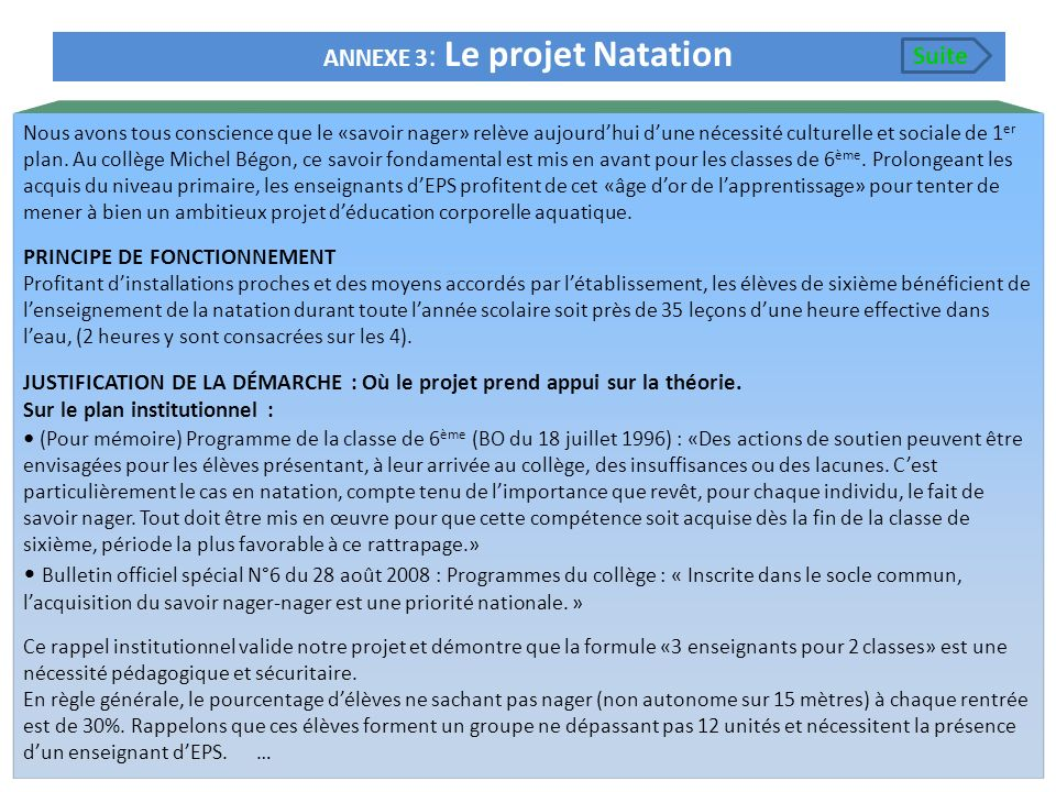ANNEXE 3: Le projet Natation