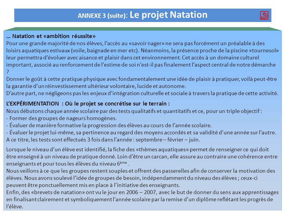 ANNEXE 3 (suite): Le projet Natation
