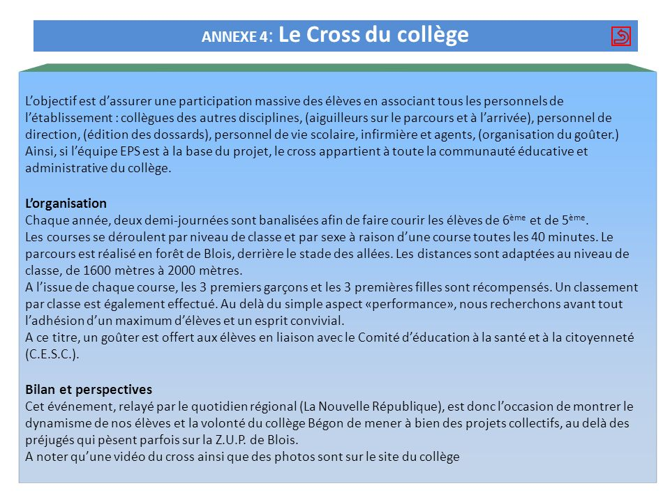 ANNEXE 4: Le Cross du collège