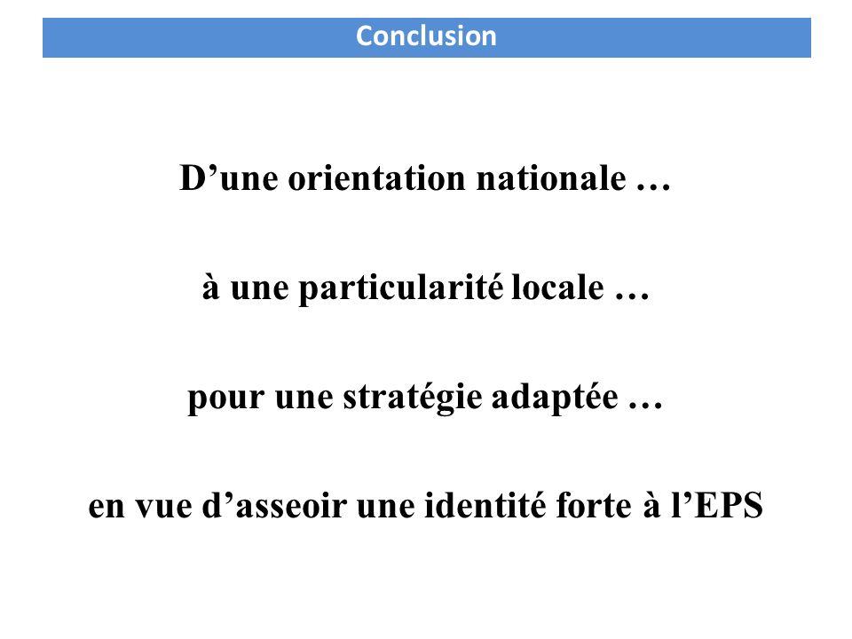 Conclusion D'une orientation nationale … à une particularité locale … pour une stratégie adaptée … en vue d'asseoir une identité forte à l'EPS