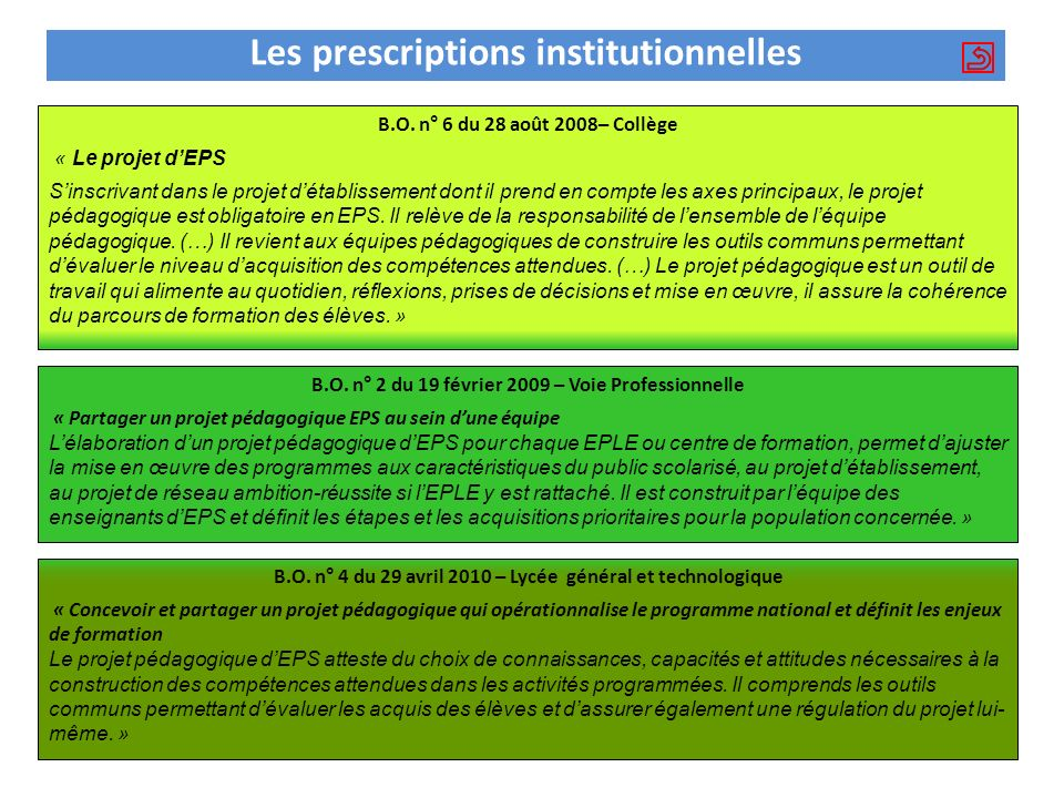 Les prescriptions institutionnelles