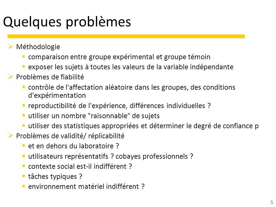 Quelques problèmes Méthodologie