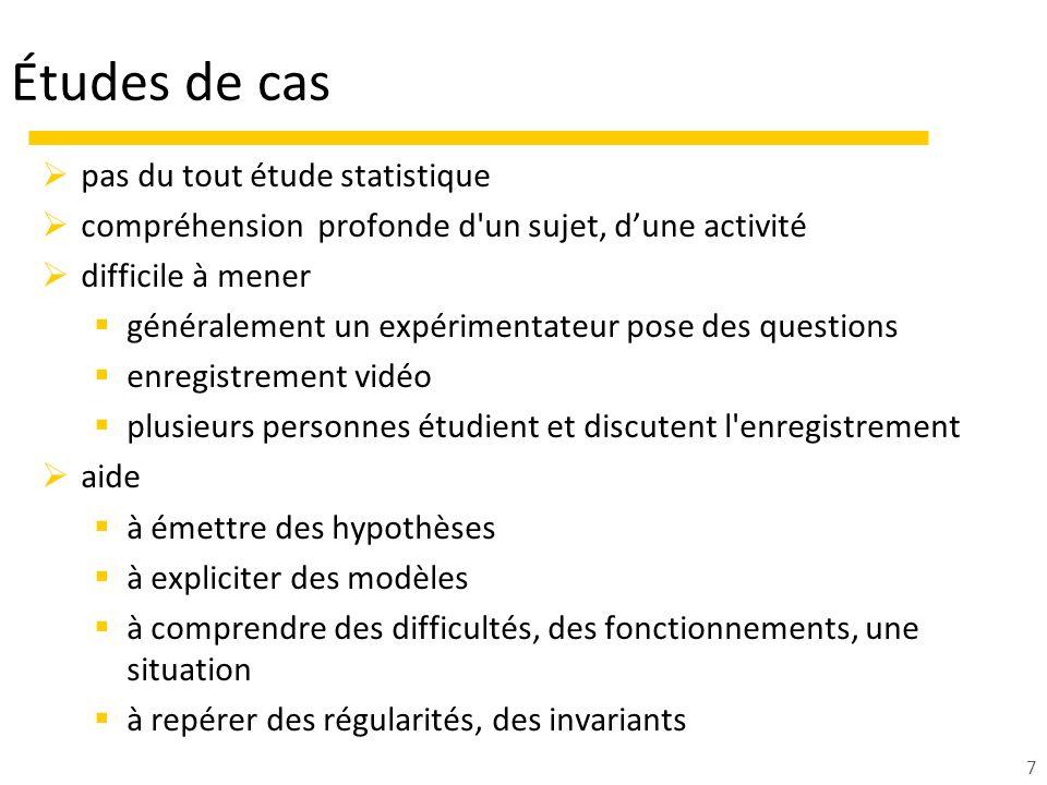 Études de cas pas du tout étude statistique