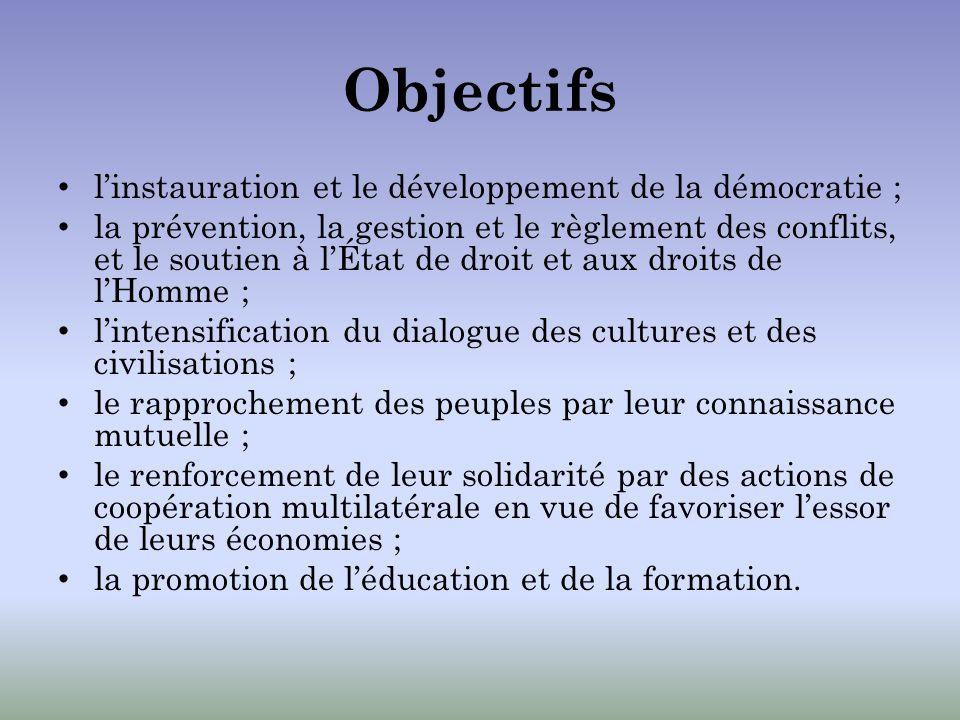 Objectifs l'instauration et le développement de la démocratie ;