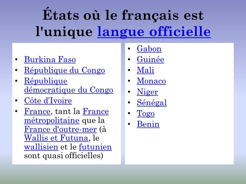 États où le français est l unique langue officielle