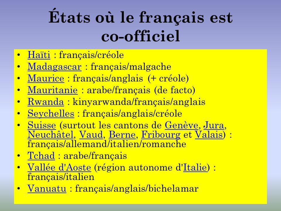 États où le français est co-officiel