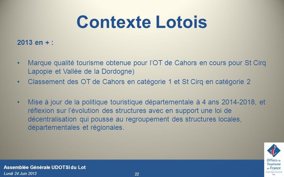 Contexte Lotois 2013 en + : Marque qualité tourisme obtenue pour l'OT de Cahors en cours pour St Cirq Lapopie et Vallée de la Dordogne)