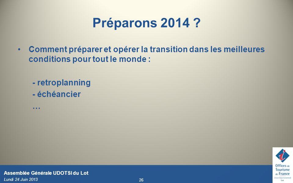 Préparons 2014 Comment préparer et opérer la transition dans les meilleures conditions pour tout le monde :